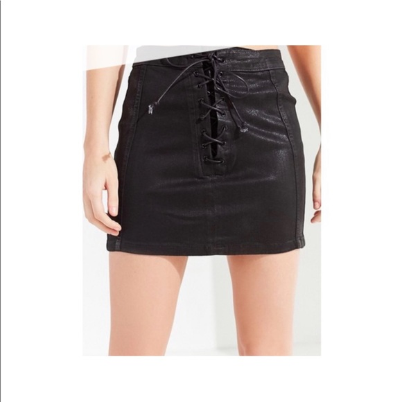 a9ba793ded BDG Skirts | Coated Waxed Denim Black Lace Up Mini Skirt | Poshmark